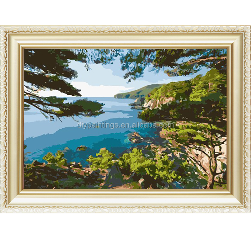 China supplier beautiful landscape oil paint by number for wholesale