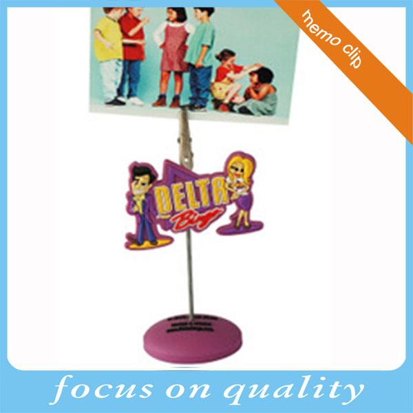 High quality embossed design creative 3d soft pvc paper clip photo memo clip holder wholesale