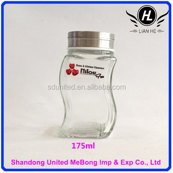 Wholesale 175ml transparent S shape glass spice bottle with stainless steel cap