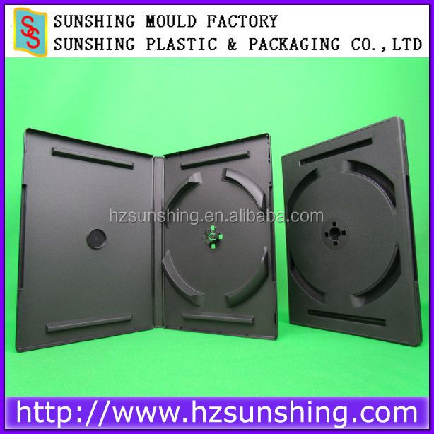 Plastic CD DVD packaging Case,14mm Black 6 dvd pp case no tray