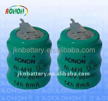 nimh 1.2v 40mah button cell batteries