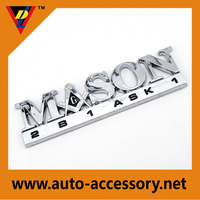Chromed ABS mason letter car badges emblems,custom plastic auto logo label sticker