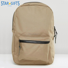 Custom High Quality Natural Canvas Backpack Type School Bag With Front Zipper Pocket