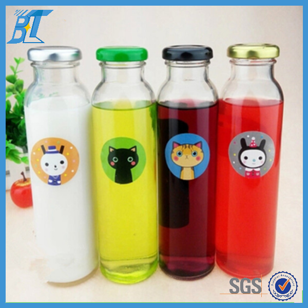 Round high white bottles giant hot water glass bottles sparkling 300ml