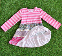 Boutique Children's Fall Winter Clothes Wholesale Kids Long Sleeves Baby's Stripes Sports Dress