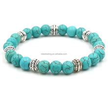 Guangzhou manufacturer supply natural blue turquoise stone bead bracelet men jewelry
