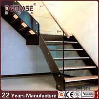 prefabricated floating glass wood stairs used metal