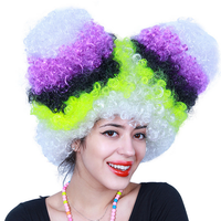 Clown Funny synthetic Wig Halloween Party Afro Wigs Colorful Carnival Cosplay Hairs New Brazil football fans wigs