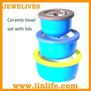 New kitchen product ceramic bowl set with sealed lids