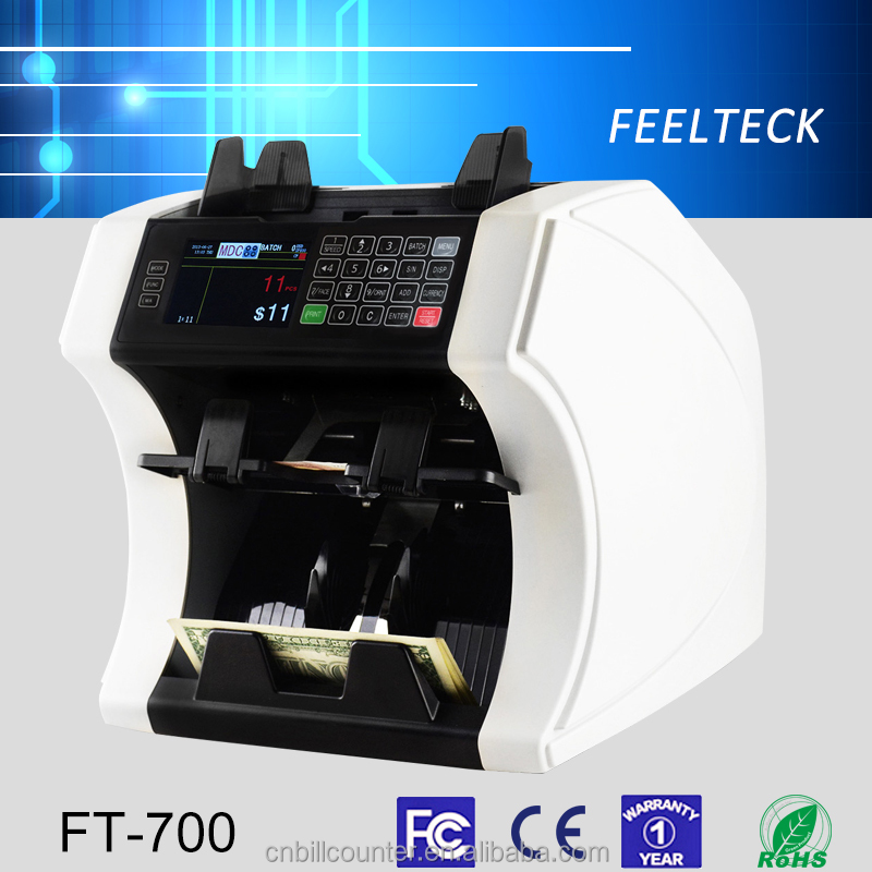 Bank note professional two pocket bill banknote sorter money counter and cash currency sorter machine