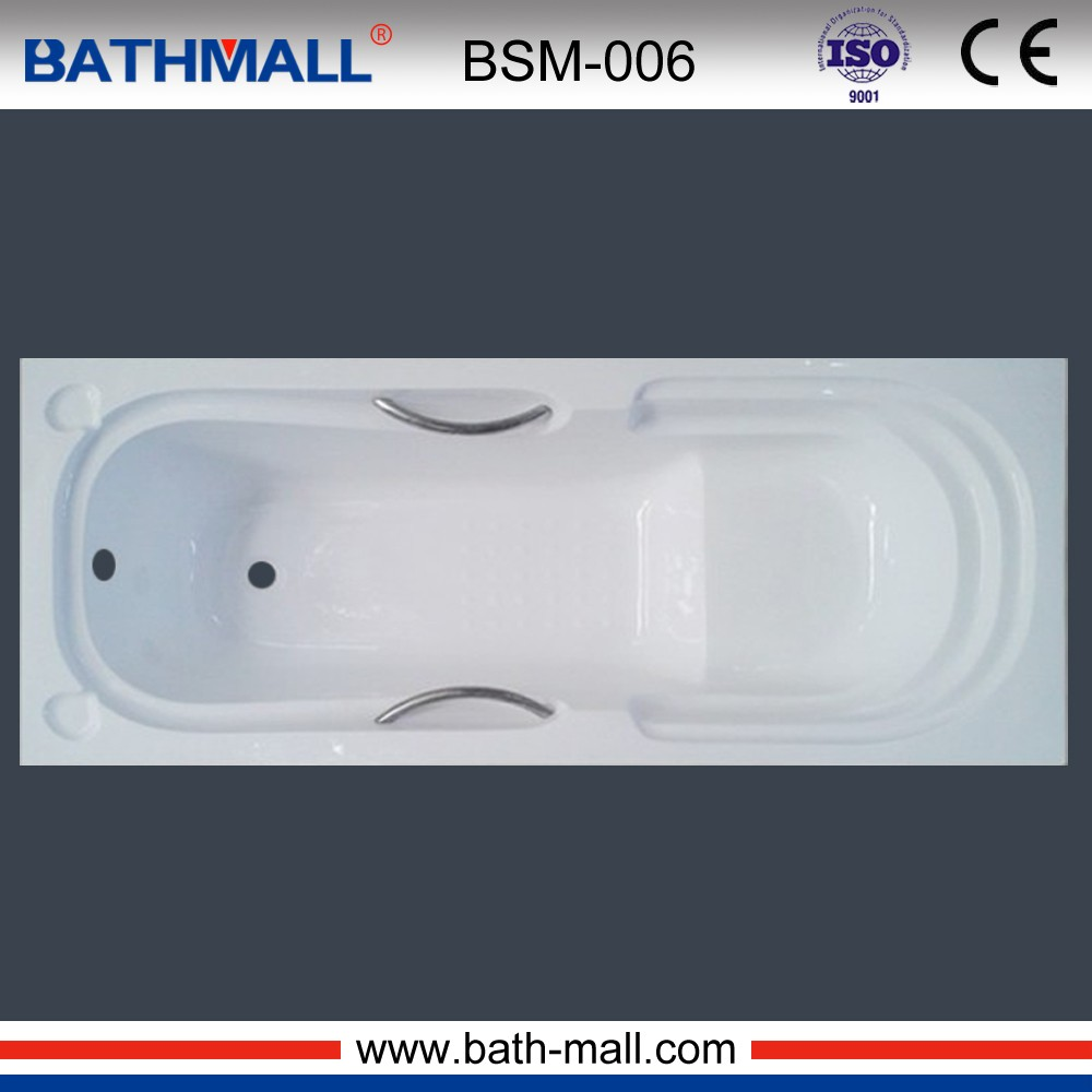 acrylic tub with handles & seat in built in type for bath