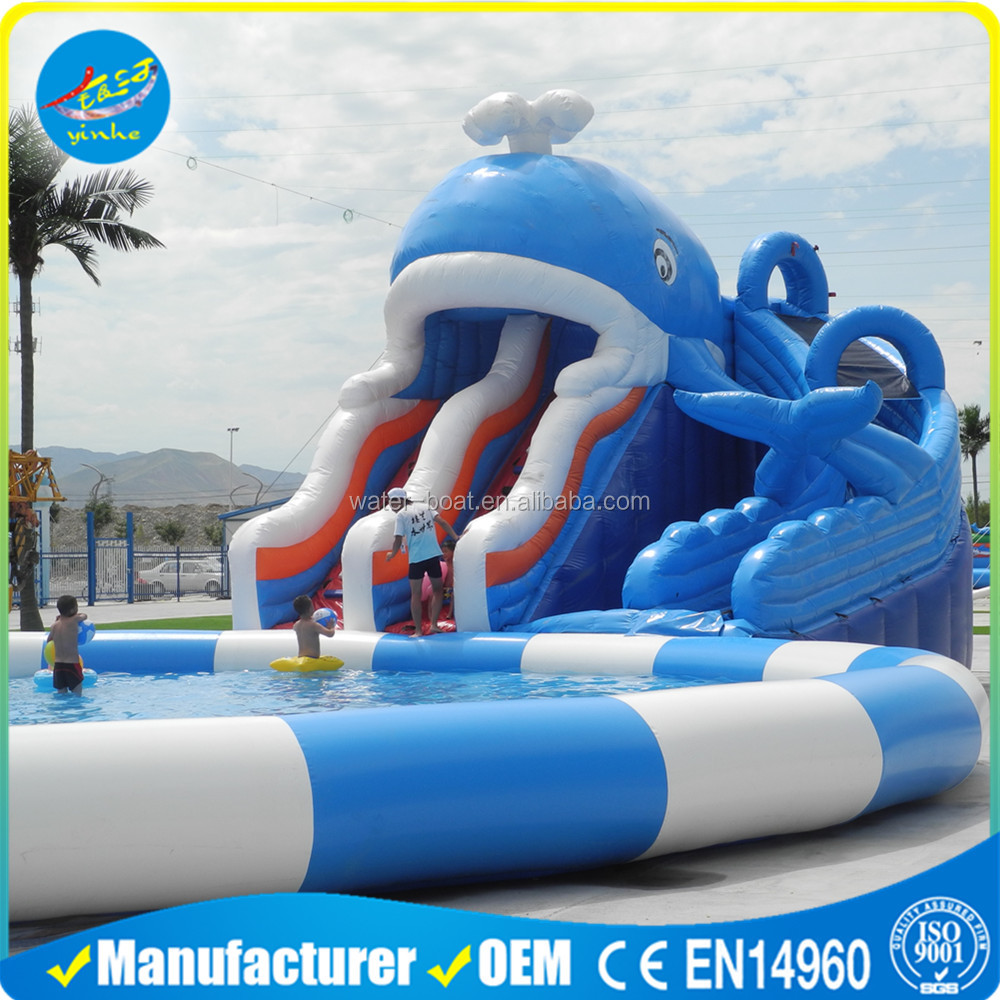Commercial Big Inflatable Whale Water Park Slide with Pool for Sale