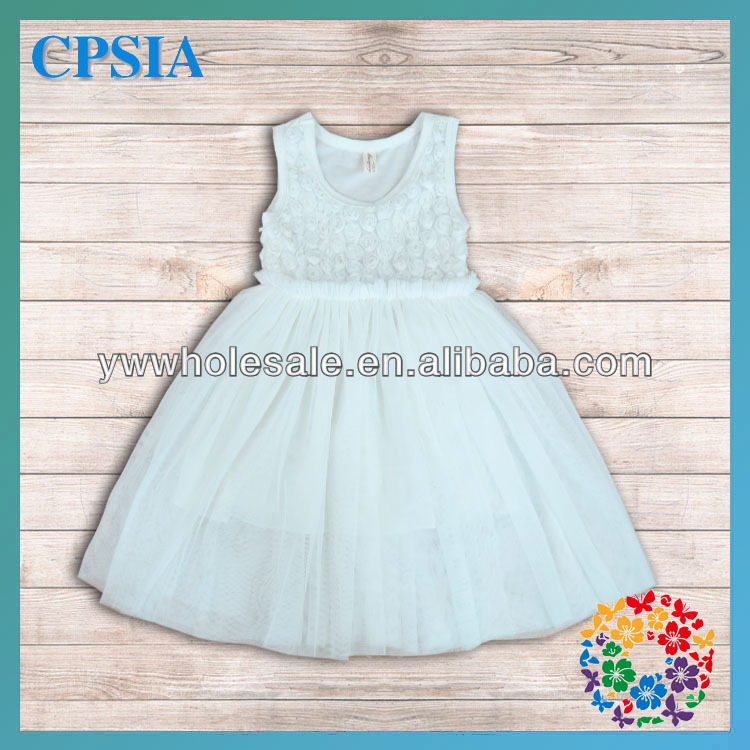 Wholesale -Sleeveless White Little Girls Rosette Tulle Long Dress, Breathable Material, Low MOQ