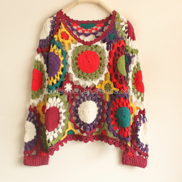 Colorful crochet fashion pullover design women's sweater