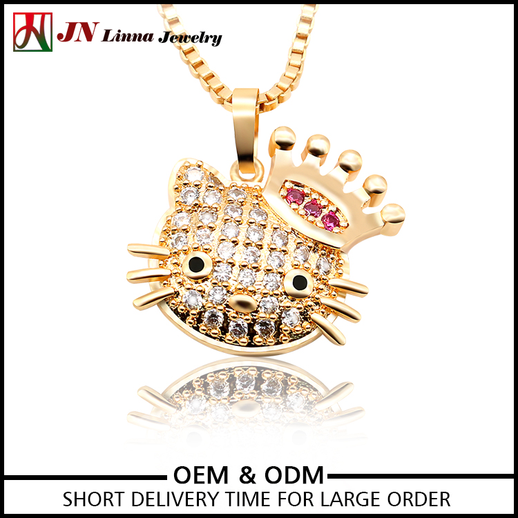 JN4045 gold plated cubic zircon hello kitty cat necklace designs