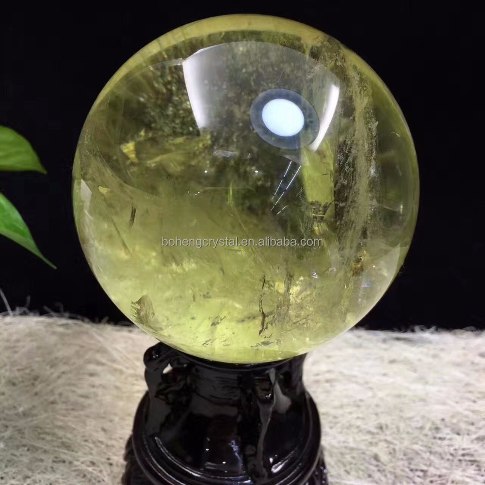 natural rock clear citrine quartz crystal ball sphere