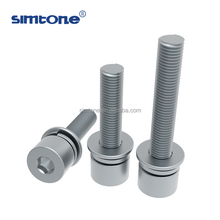 china supplier hexagon socket head cap bolt with flat and spring washers SEM screw metric UNC UNF