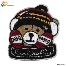 Wholesale chenille patch towel embroidered patches bear <strong>design</strong>