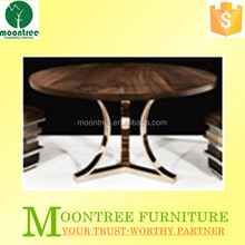 Moontree MDT-1176 restaurant stainless steel base wooden round dining table
