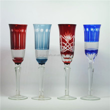 2015,2016 new BEST selling green,red,purple,blue,amber handmade high quality hand cut solid color wine glass/champagne glass