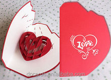 High quality heart shape handmade greeting card