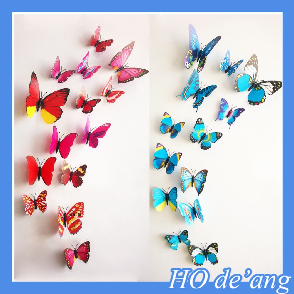 12 Pcs/Lot PVC 3D Butterfly Wall Stickers Decals Home Decor Poster for Kids Rooms Adhesive to Wall Decoration