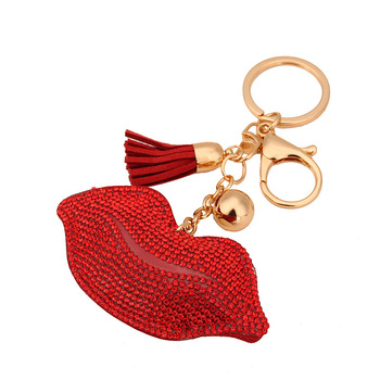 AP10165 rhinestone keychain lip leather tassel cute car key chain keyring cover holder purse handbag bag charm trinket chaveiro