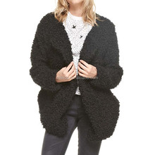 Wholesale Online OEM Coats US High Quality Plus Size Fashion Black Charcoal Fuzzy Open Front Knit Jackets Women