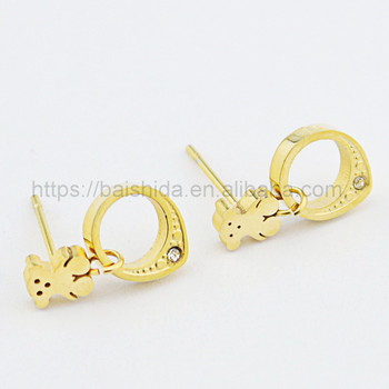 bear circle earrings gift items jewelry for women factory wholesale