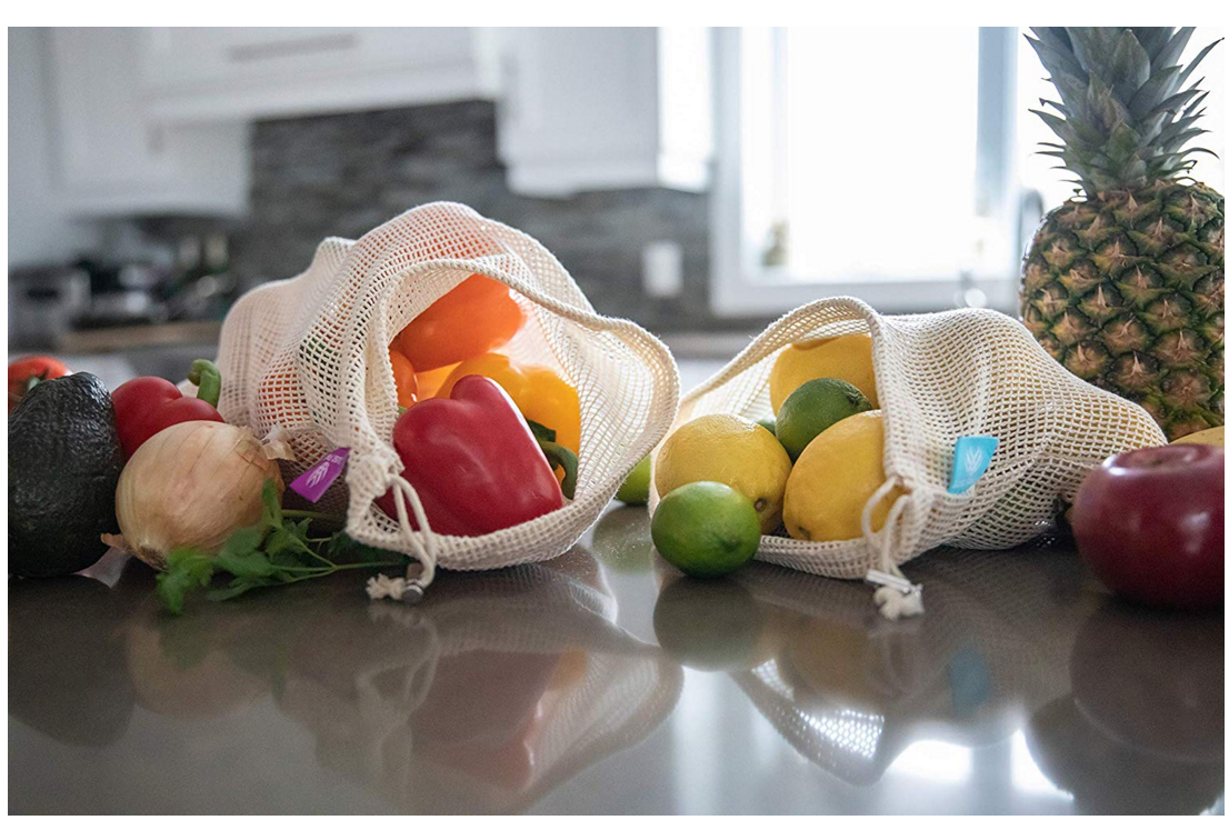 Natural Cotton Eco Friendly Net Drawstring Shopping Bags with Double Reusable Produce Mesh Bags