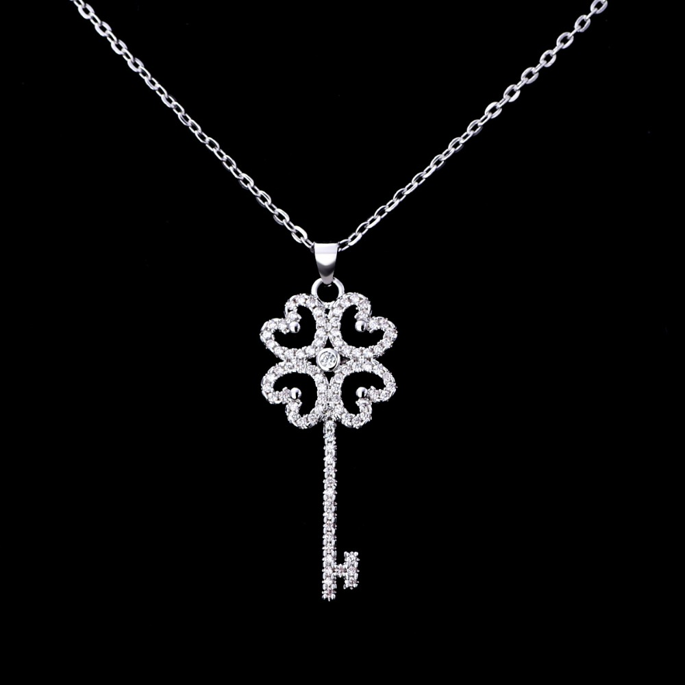 Key Necklace white zircon Four Leaf Clover Pendant 925 Silver Jewelry