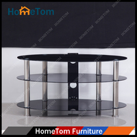 Modern Living Room Furniture Black Glass LCD TV Stand