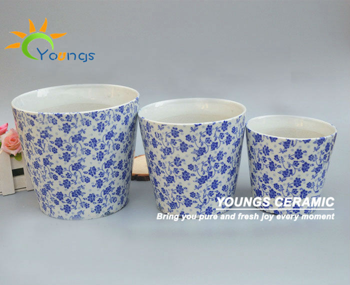 10 Diameter Ceramic Pot Blue And White