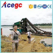 Bucket chain river gold sand dredging machine,river gold mining process equipment