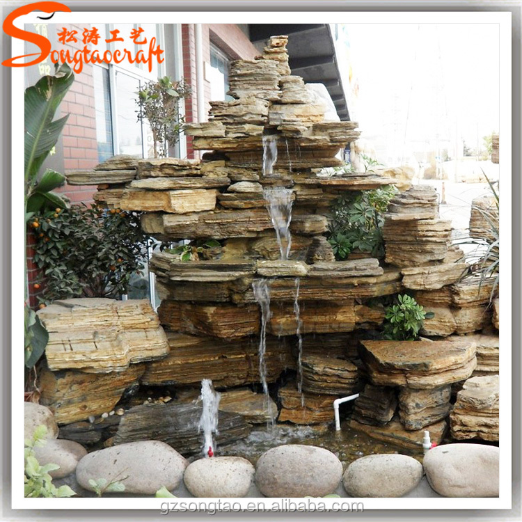 High quality large rockery fiberglass waterfalls natural stone garden fountain outdoor