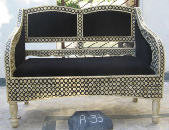 Moroccan Style Camel Bone Inlay Sofa set & Chairs furniture (Bone & Mother of Pearl Inlay Furniture from India)