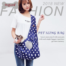 Outdoor Travel Comfortable Canvas Pink Blue Dot Dog Carrier Bag Portable Pet Sling Bag