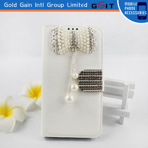 High Quality Litchi Pattern Leather Case for Motorola G XT1032 with Luxury Butterfly Diamond