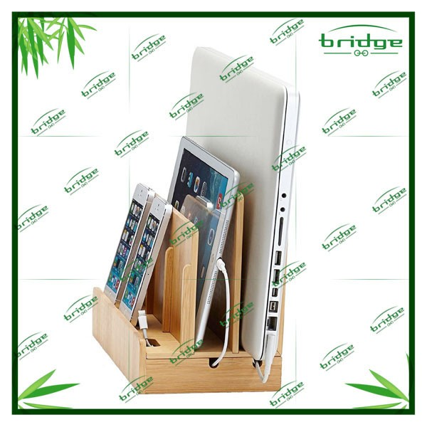 Great Useful Stuff Eco-Friendly Bamboo Multi-Device Charging Station and Docker/Bookends/Book Holder