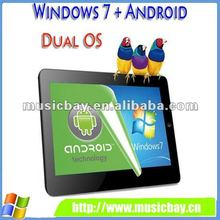 "10"" multi touch Inttel n455 windows 7 android dual system tablet pc with WIFI support 3G bluetooth"