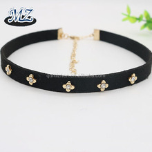 2017 new design flower diamante jewelry black suede choker necklace