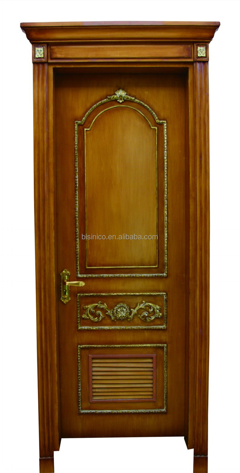 French baroque style solid wood hand carved interior door high quality antique finish beige for Antique looking interior doors