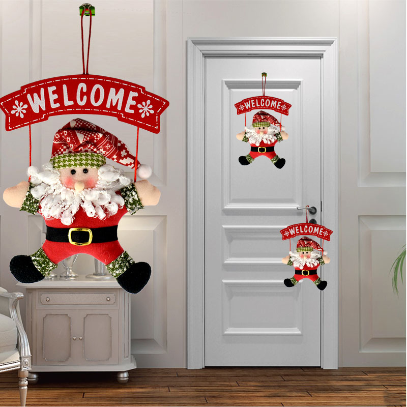 <strong>Christmas</strong> Hanging Decoration 2017 Dolls Welcome Santa Claus Decor <strong>Christmas</strong> Tree Indoor Ornament Party Home Decor