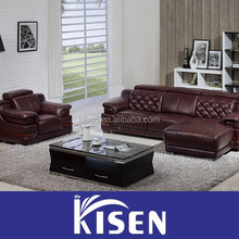 Top quality home modern furniture corner heated leather sofa