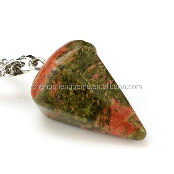 Customized unakite pendulum for necklace pendant