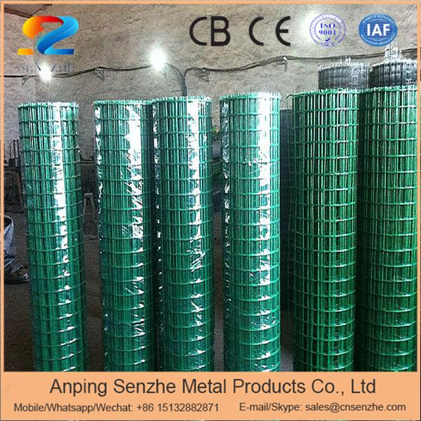 2016 hot sale 1/2 inch square hole green pvc coated welded wire mesh for guard