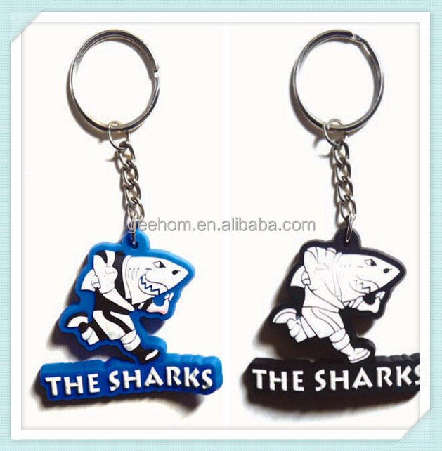 promotional keyrings sharks shaped pvc cool keychain