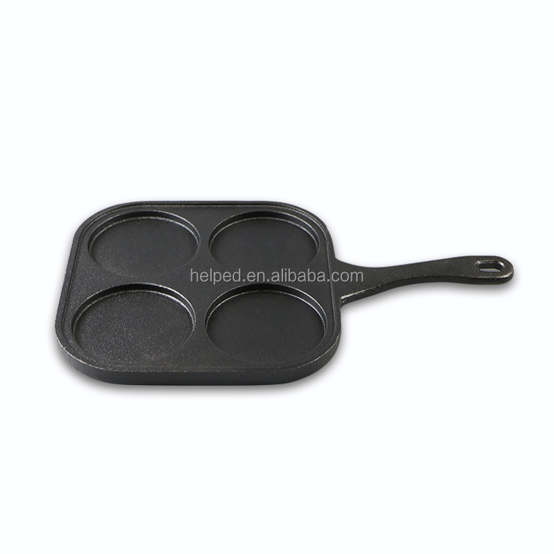 cast iron 4 holes fry pan non-stick cookware set for breakfast