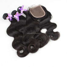 Kimberly hair Brazilian body wave human hair weaves with lace closures,virgin lace closure Brazilian human hair