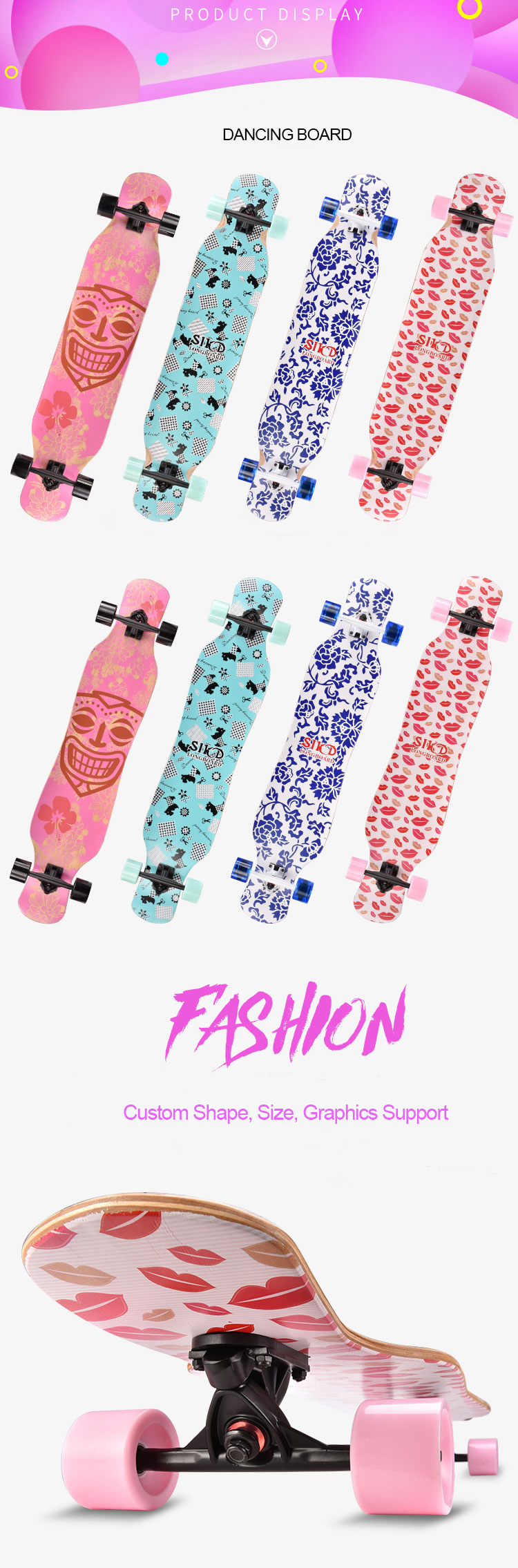 wholesale girls' dancinglongboard maple longboard deck paris trucks PU high rebound wheels